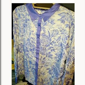 Lavender floral silk button up. New